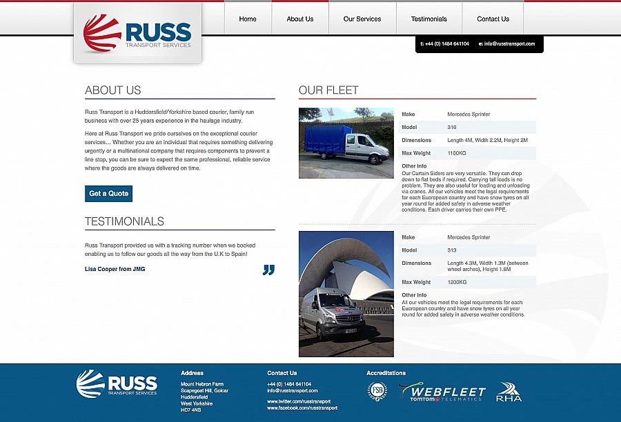 Russ Transport - About Page