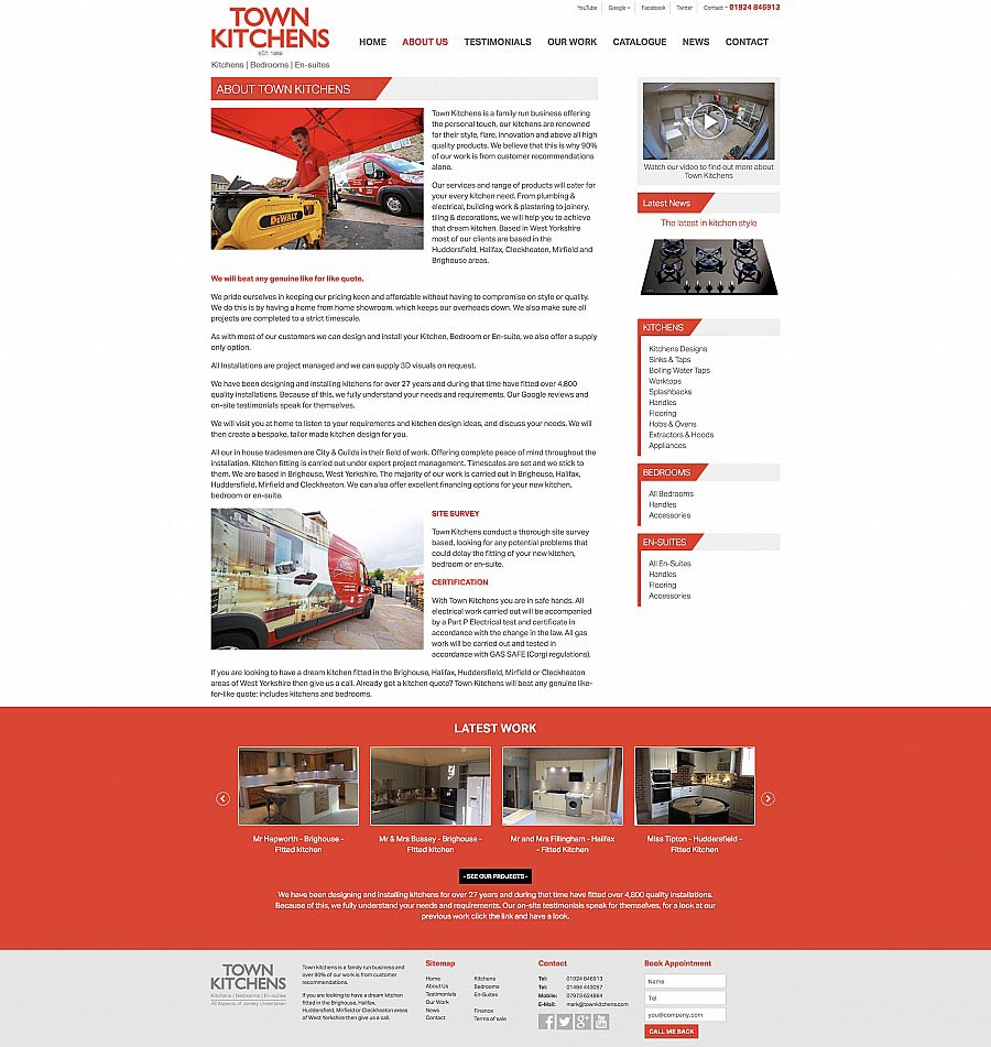 Town Kitchens - Website - About page