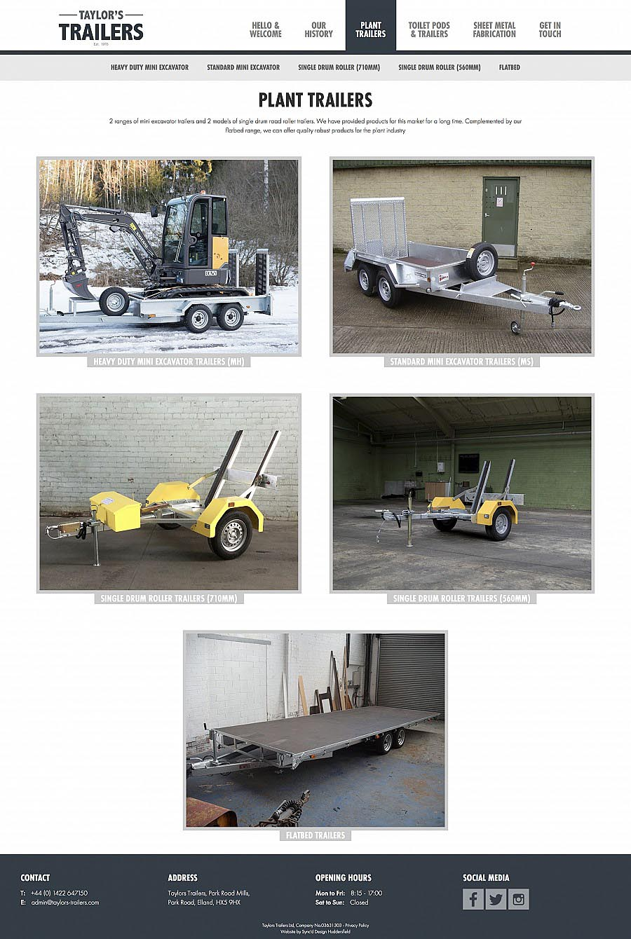 Taylors Trailers Products Page